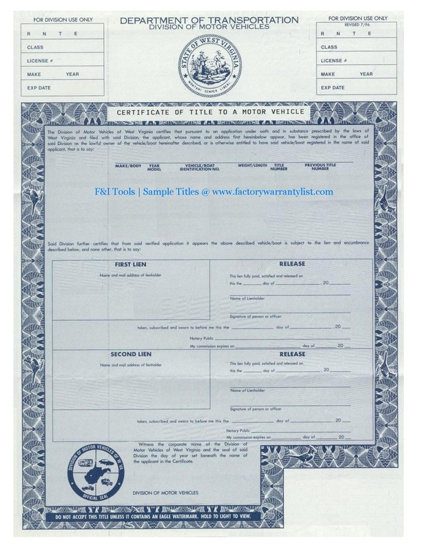 My vehicle title what does a car title look like for Virginia department of motor vehicle