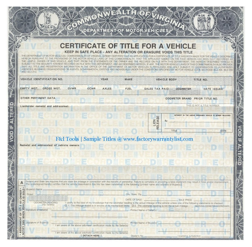 My Vehicle Title F I Tools New Car Factory Warranty List
