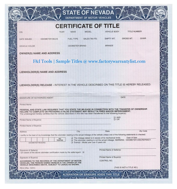 My Vehicle Title F Amp I Tools New Car Factory Warranty List