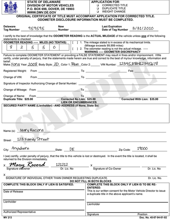 Ohio Official Bmv New Car Registration