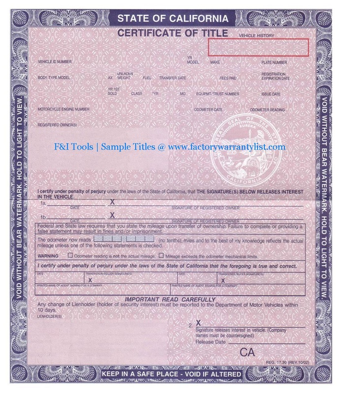 My Vehicle Title What Does A Car Title Look Like