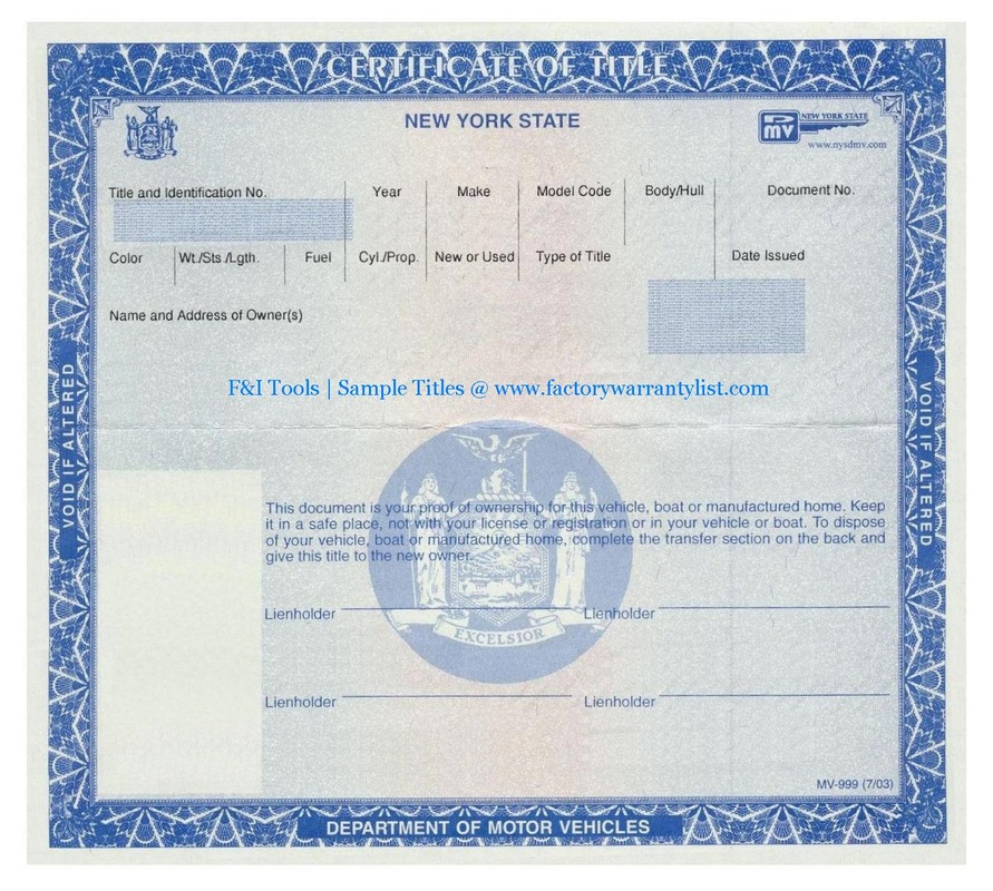 New York Vehicle Title