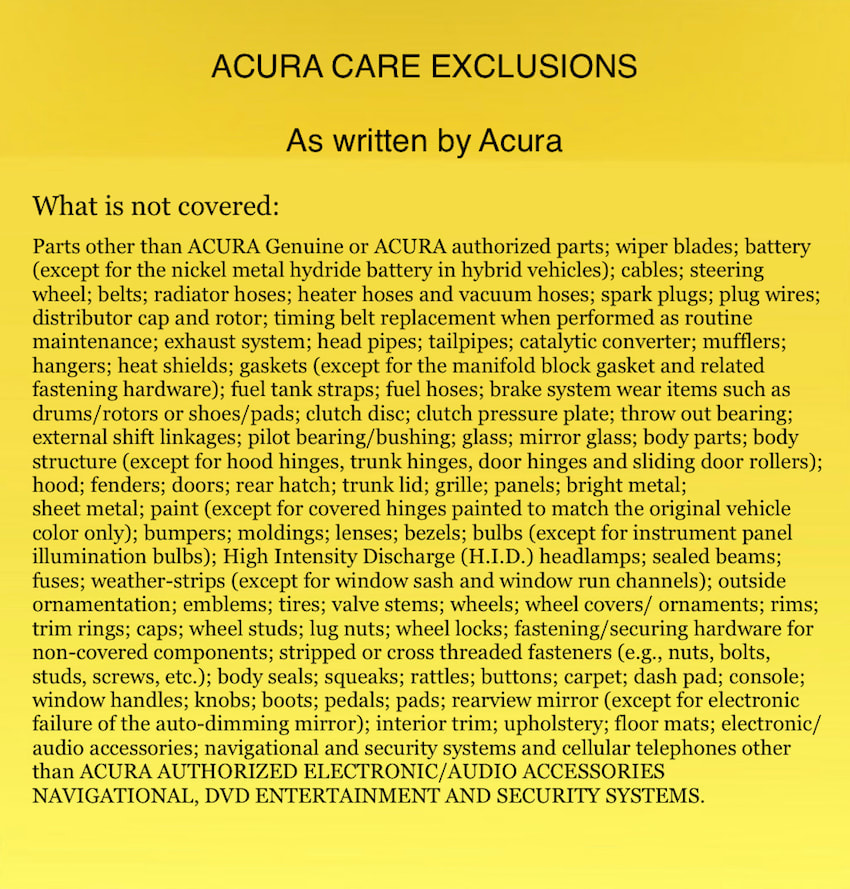 Acura Care Exclusions