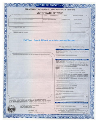 Montana Vehicle Title