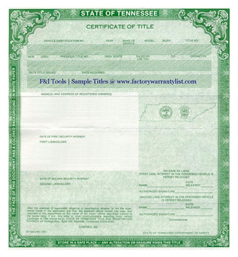 Tennessee Vehicle Title