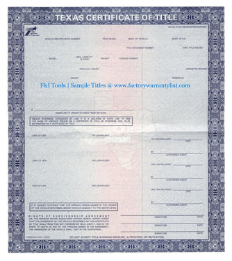 Texas Vehicle Title