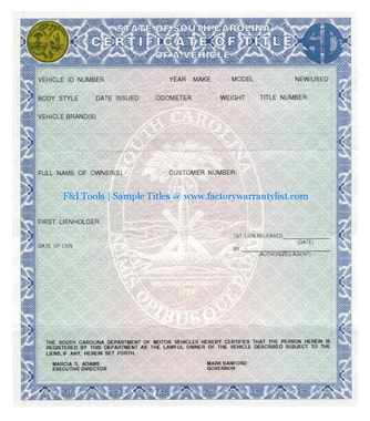 South Carolina Vehicle Title