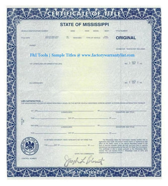 Mississippi Vehicle Title