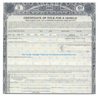 Virginia Vehicle Title