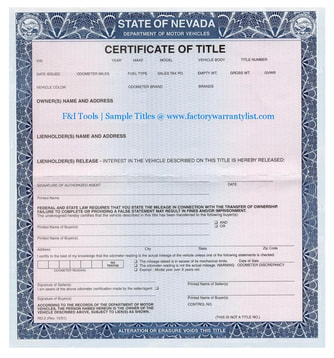 Nevada Vehicle Title