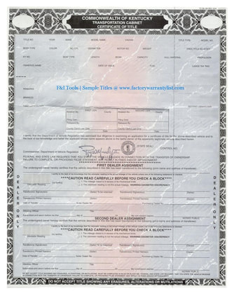 Kentucky Vehicle Title