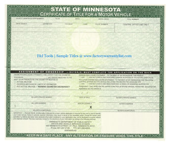 Minnesota Vehicle Title