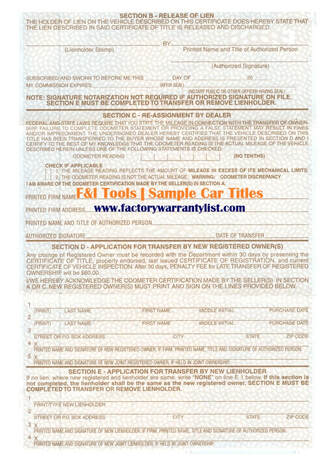 Backside of Hawaii Vehicle Title