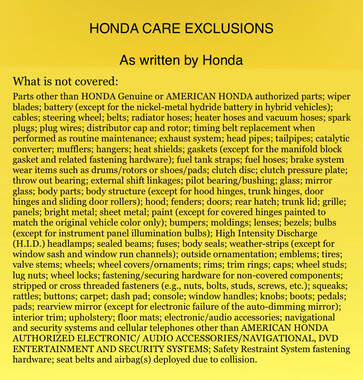 Honda Exclusionary List