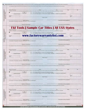 Backside of Illinois Vehicle Title