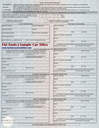 Backside of Indiana Vehicle Title