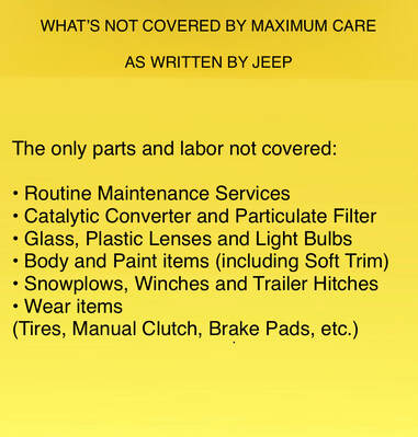 Jeep Maximum Care Exclusions