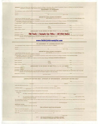 Backside of Maine Vehicle Title