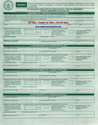 Backside of Massachusetts Vehicle Title