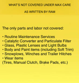 Ram Truck Max Care Exclusions