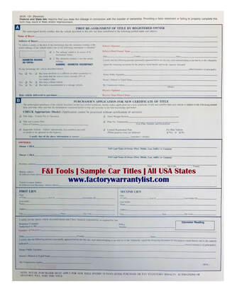 Backside of North Carolina Vehicle Title