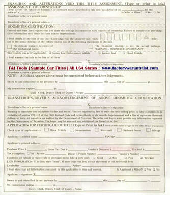 Backside of Ohio Vehicle Title