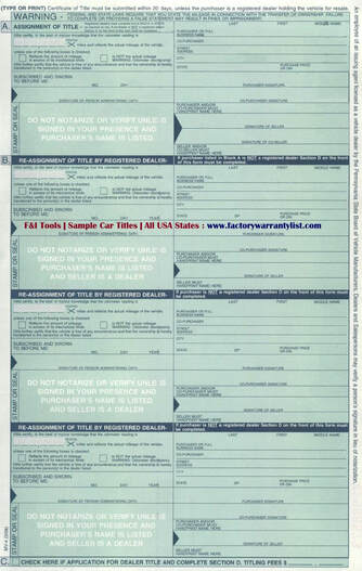 Backside of Pennsylvania Vehicle Title
