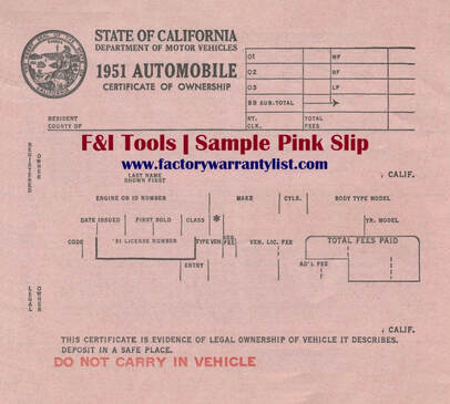 1951 CA Vehicle Pink Slip