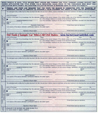 Backside of Texas Vehicle Title