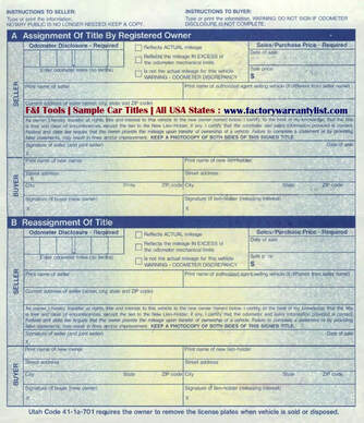 Backside of Utah Vehicle Title