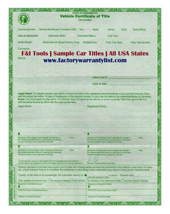 Washington Vehicle Title