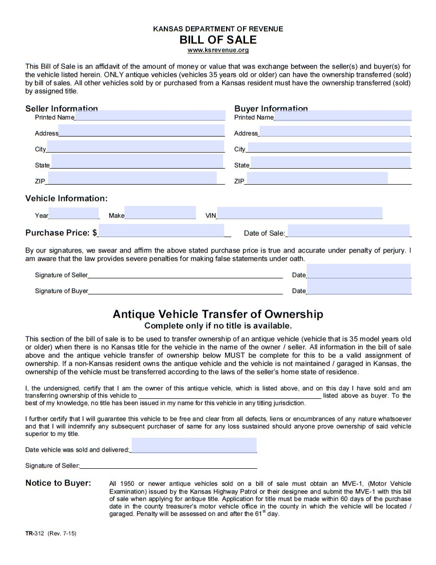 Bill Of Sale Kansas >> Car Forms Vehicle Bill Of Sale Printable Pdf Template
