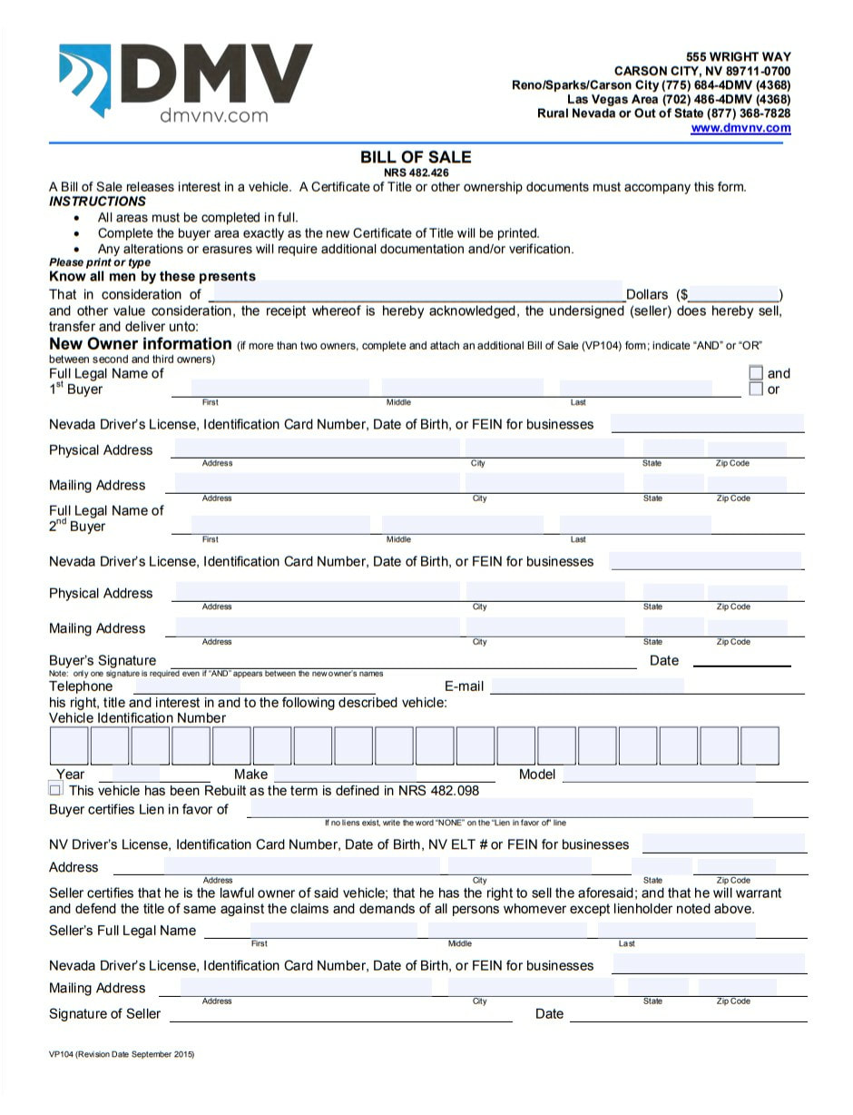 Bill Of Sale Nevada >> Car Forms Vehicle Bill Of Sale Printable Pdf Template